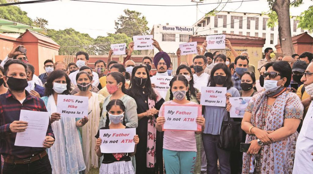 Bhavan Vidyalaya School, Panchkula, fees hike protest, Panchkula protest, Punjab protests, indian express