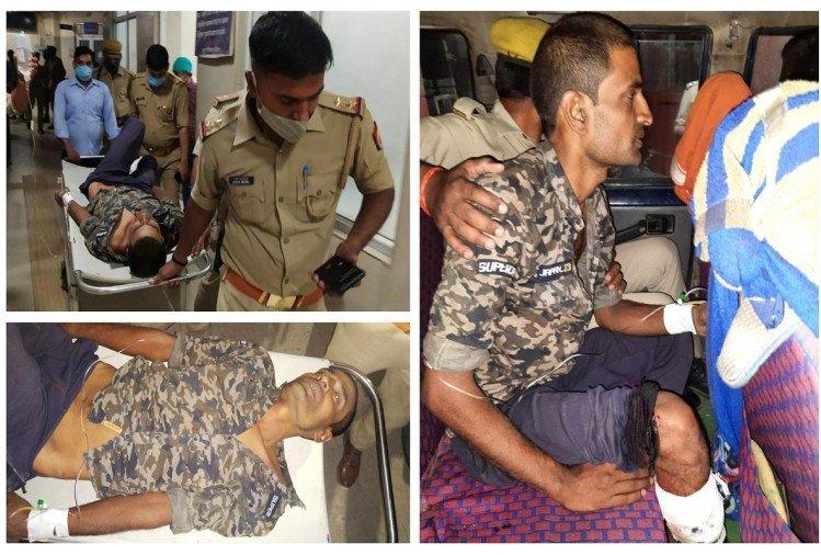 पुलिस मुठभेड़ में घायल डकैत वीरेंद्र सिंह।