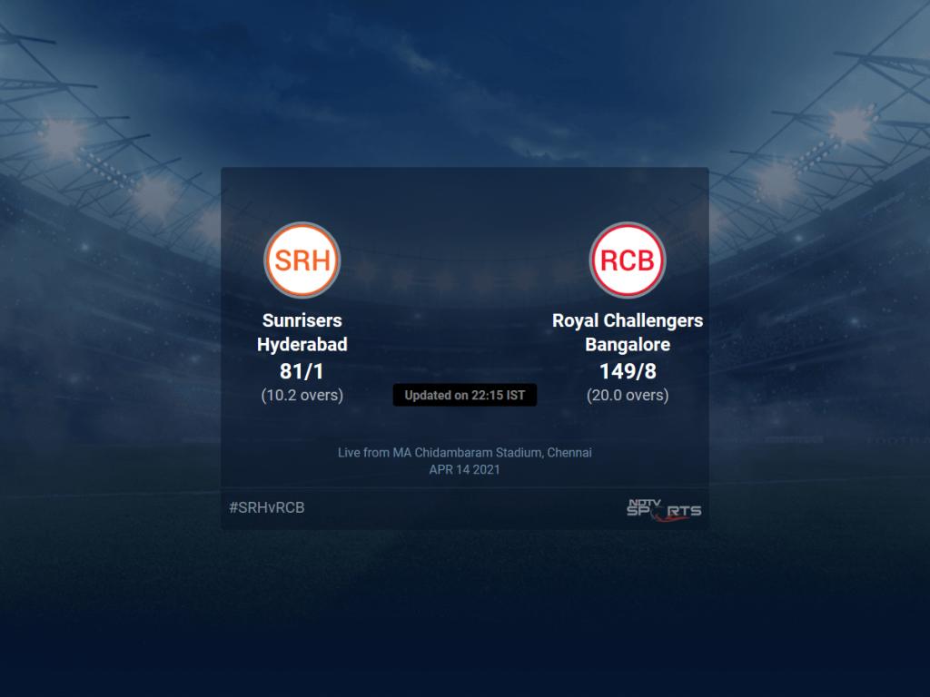 सनराइजर्स हैदराबाद बनाम रॉयल चैलेंजर्स बैंगलोर मैच का स्कोर 6 T20 11 15 अपडेट |  क्रिकेट खबर