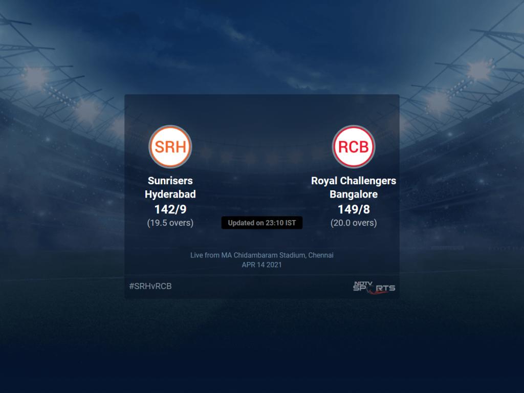 सनराइजर्स हैदराबाद बनाम रॉयल चैलेंजर्स बैंगलोर का मैच 6 T20 16 20 अपडेट पर लाइव स्कोर |  क्रिकेट खबर