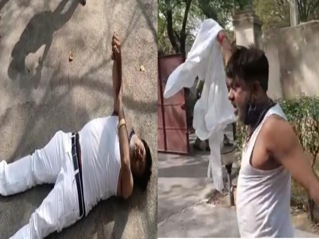 Pratapgarh news : फटा कुर्ता दिखाकर जमीन लेटे BJP विधायक, SP पर लगाए गंभीर आरोप, DM आवास पर घंटों चला ड्रामा
